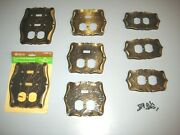 Vtg Lot Of 8 Amerock Carriage House Brass Outlet And Light Switch Cover Plates