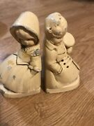 Vintage 1940's Coventry Ware Chalkware Bookends Couple Figurine Top Hat And Bonnet