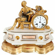 Antique French Philippe H. Mourey Gilt Bronze And Alabaster Figural Mantel Clock