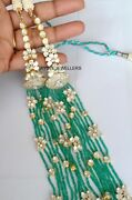 Real Emerald Beads Gems And Polki Diamond 925 Sterling Silver Victorian Necklace