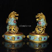 Pair9and039and039 Bronze Gild Cloisonne Home Fengshui Auspicious Beast Foo Dog Lion Statue