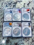 Silver Eagle Ms70 Rare State Series Lot 5,6,7,8,9,and 10