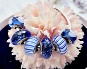 6 Pandora Silver 925 Ale Murano Charm Faceted Blue Hearts Stripes Beads