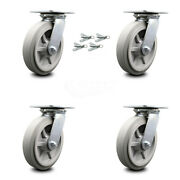 Heavy Duty Large Top Plate Thermo Rubber Flat Tread Swvl Caster Set 4 W/8