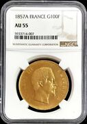 1857 A Gold France 100 Francs Napoleon Iii Coin Ngc About Uncirculated 55