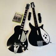 Xbox 360 Beatles Gretsch And Rickenbacker Wireless Guitar Controllers +game Tested