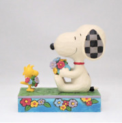 Peanuts Jim Shore Snoopy And Woodstock Figure Flowers For Friends Hand Painted New