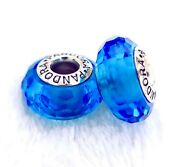 2 Pandora Silver 925 Ale Murano Charm Faceted Blue Glass Beads 093