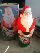 Vintage Empire Blow Mold Santa 48 Tall With Box Toy Sack Lights Up Kept Indoors