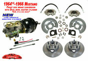 1964-66 Ford Mustang Front Drum To Power Disc Brake Conv Kit, Low Profile Master