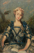 Paul Sieffert French Oil Painting Portrait Woman Lady 18th Century Costume Book
