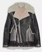 Authentic New Coach Oversized Shearling Aviator Jacket Leather Size 8 Org2250