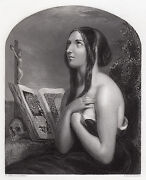 1849 William Etty Engraving The Penitent Woman With A Skull Framed Signed Coa