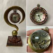 Antique French Ball Clock On Bronze And Marble Question Mark Novelty Watch Holder