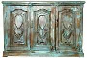 Rustic Teale Sideboard Carved Media Chest Distressed Credenza Buffet Farmhouse