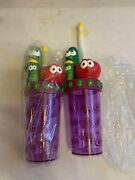 2 New Veggie Tales Drink Cup Tumblers Lot