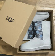 New In Box Ugg Australia Boots Classic Short Sequin Stars Booties Grey Size 7