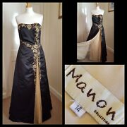Manon Collection Black Gold Embroidered Strapless Bridal Dress Shawl Size 14