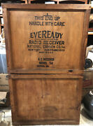 Vintage 1929 Eveready Radio Receiver Wood Shipping Crate Cabinet Advertising Box