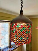 A Set Of Two Style Chain Mail Pendant Lamps