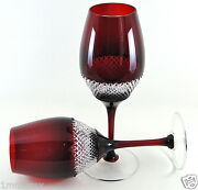 Pair Waterford Johnrocha Wine Glass Goblets 9-1/8h, Ruby Red Cased Crystal
