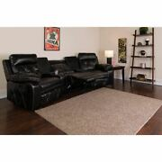 Reel Comfort Series 3-seat Reclining Black Leathersoft Theater Seating Unit W/cu