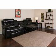 Reel Comfort Series 3-seat Reclining Black Leathersoft Theater Seating Unit W/st