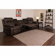 Reel Comfort Series 3-seat Reclining Brown Leathersoft Theater Seating Unit W/cu