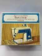 Singer Touch And Sew Model 638 Accessories Zig Zag W/box Vintage 1970s Sewing