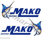 Two Mako Marine Boat Stickers. Uncut 8 Inches Long By 3.5 Inches High Each