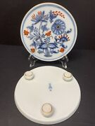 Antique 19th C. Meissen Rich Footed Trivet Tile Stand Red Blue Onion Set Of 2