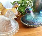 3 Vintage Carnival Blue Amber Iridescent And Clear Indiana Glass Hen On Nest
