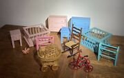 Rare Vintage Toy Dollhouse 12 Pc Baby Lot Tricycle Dresser Crib Chair Stroller