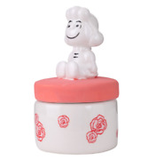 Peanuts Snoopy Aroma Oil Pot Lucy Sitting Cute Pottery Container W/ Rose Print
