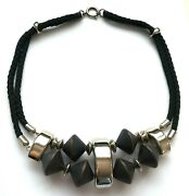 Aarikka Finland - Beautiful Necklace With Black Wood Beads And Silver Tone Metal