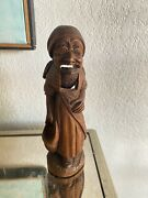 Antique Lady With Kerchief Cap Standing Wooden Nutcracker Hand Carved