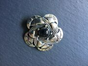 Early Georg Jensen Silver Brooch With Black Onyx