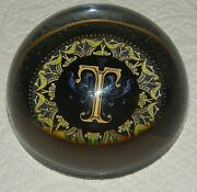 Vintage Punch Studio France Crystal Initial Paperweight Letter T - 3.5 X 1.5