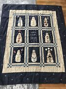 Vintage Throw Blanket Christmas Handmade Quilt Snowman Applique Embroidery