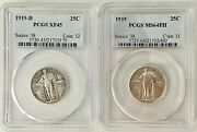Wow__standing Liberty Silver Quarters 1919-pcgs Ms64 Fh 1919-d-pcgs-xf45