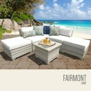 Tk Classicss Fairmont 6-piece Patio Wicker Sectional Set 06f In White