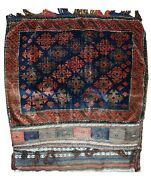 Handmade Antique Afghan Baluuch Salt Bag 2.1and039 X 2.6and039 66cm X 80cm 1880s - 1c368