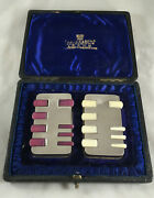 Victorian Boxed Silver Whist Markers Henry Charles Freeman London 1891 Ceezx