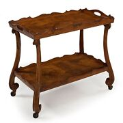 Italian Antique Walnut Two-tier Serving Table Bar Cart Early 20th Century