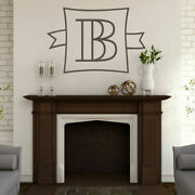 Custom Monogram Frame With Banner Wall Decal - Personalized Family Wedding Art