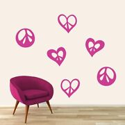 Peace Signs And Hearts Wall Decal Set - Shapes, Hearts, Kids, Teens, Bedroom