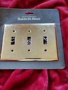 Baldwin Brass Solid Brass Laiton Massif Antique Light Plate Cover 3 Switch