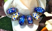 6 Pandora Silver 925 Ale Murano Charm Blue Pink Flowers In Ocean Beads
