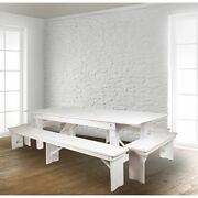 Hercules Series 8and039 X 40 Rustic White Folding Farm Table And Four Bench Se