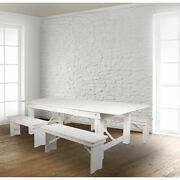 Hercules Series 8and039 X 40 Rustic White Folding Farm Table And Four 40.25l